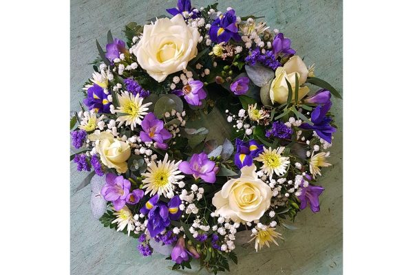 Flowers by Ann - purple and white wreath 45.00